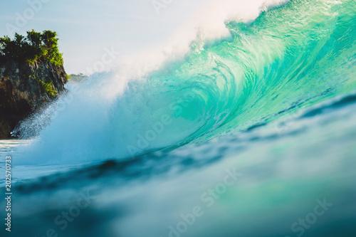 Big wave in ocean. Breaking wave in Bali at Padang Padang