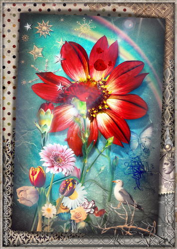 Cadres-photo bureau Imagination Collage patchwork surreale con fiori tropicali,garofani,acobaleno,stelle e fiocchi di neve