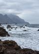 Ocean wave, Benijo beach and rocks of Tenerife island