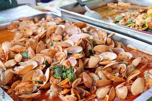 Fotografie, Tablou Stir fried clams with chili paste