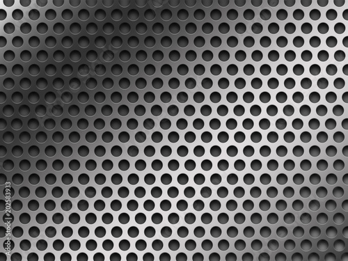 Vászonkép Gray perforated metal background texture