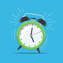 Cartoon Green Ringing Clock Al...