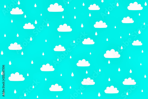 Little White Cloud On Lite Blue Sky Background And Raindrops