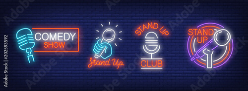 Obraz na plátně Stand up comedy show neon signs collection