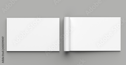 Soft cover landscape brochure, magazine, book or catalog mock up isolated on gray background. 3D illustrating.