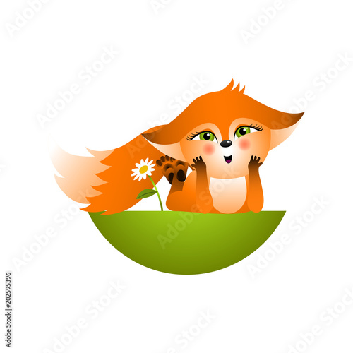 Fotografie, Obraz  Isolated red cartoon fox cub on white background