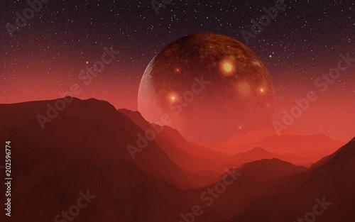 Garden Poster Brown 3D illustration Gargantuan Satellite above the orange horizon