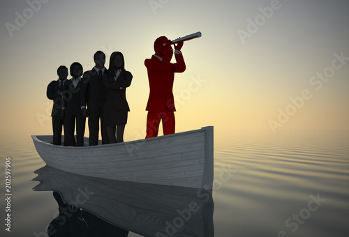 Executive leader and team on boat with a telescope at sunrise Canvas Print
