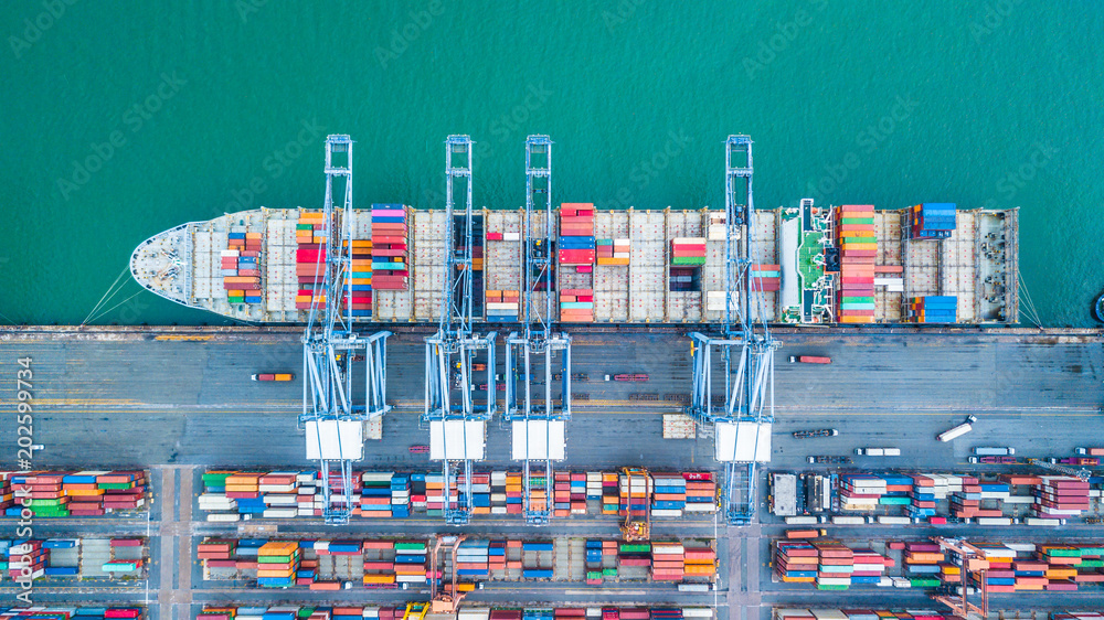 Fototapety, obrazy: Aerial top view container cargo ship, Business import export logistic and transportation of International by containr cargo ship in the open sea.