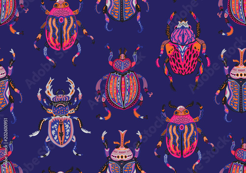 Deurstickers Kunstmatig Seamless pattern with decorative ornamental beetles. Fantasy vector illustration
