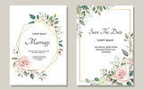 Fototapeta Kwiaty - Set of card with flower rose, leaves. Wedding ornament concept. Floral poster, invite. Vector decorative greeting card or invitation design background