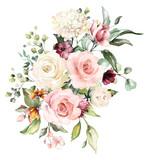 akwarela kwiaty. ilustracja kwiatowa, liść i pąki. Kompozycja botaniczna na ślub lub kartkę z życzeniami. gałąź kwiatów - róże abstrakcji, hortensja - 202605554