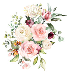 Fototapeta watercolor flowers. floral illustration, Leaf and buds. Botanic composition for wedding or greeting card. branch of flowers - abstraction roses, hydrangea