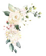 Leinwandbild Motiv  watercolor flowers. floral illustration, Leaf and buds. Botanic composition for wedding or greeting card.  branch of flowers - abstraction roses, hydrangea