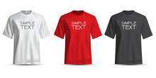 Realistic T-shirt White Red Black On White Background Vector Illustration.