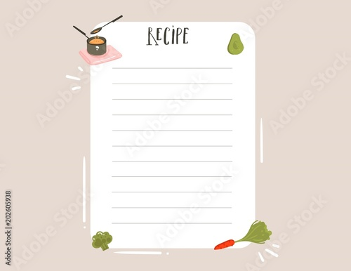 Fototapeta Hand drawn vector abstract modern cartoon cooking studio illustrations recipe card templete with handwritten calligraphy isolated on white background obraz