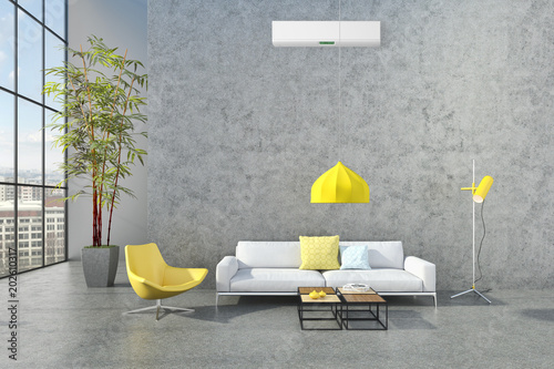 Fototapety, obrazy: Modern bright interiors apartment 3D rendering illustration