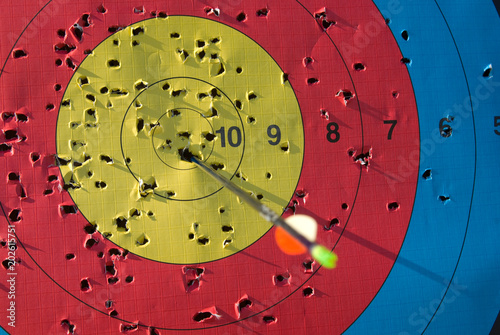 Photo Used archery target with arrow in it