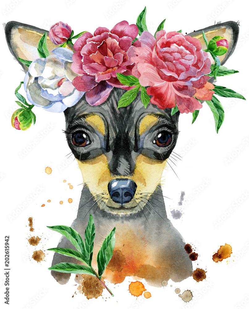 Akwarela portret zabawkarski terier z kwiatem <span>plik: #202615942   autor: Natalia Andreichenko</span>