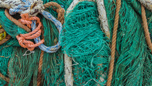 Old Fishing Green Nets And Ropes