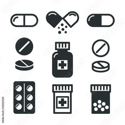 Medical pills and bottles icons set Wallpaper Mural