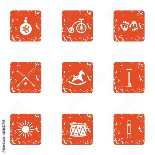 Snowbound icons set Tablou Canvas
