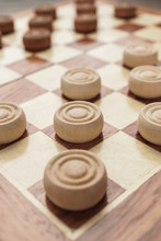 Wooden Draughts Board Game On ...