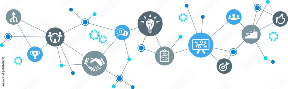 Fototapeta Teamwork concept vector illustration – cooperation, goals, networking, strategy