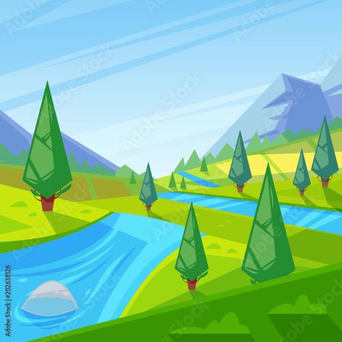 In de dag Lime groen Summer, spring green landscape. Vector illustration of hills, meadows and mountains.
