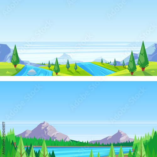 Poster Lime groen Seamless horizontal landscape background. Vector illustration of mountains, hills, meadows, lake and river.