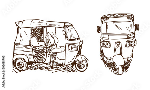 Tuk Tuk Drawing Sketch Asian Transportation Moto Taxi In