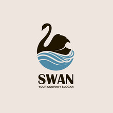 Icon With Black Swan And Blue ...