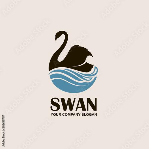 Naklejka premium ikona z czarnym łabędziem i niebieskie fale
