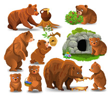 Cartoon Bears Doing Different ...