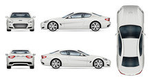 Car Vector Mock-up. Isolated Template Of Supercar On White Background. Vehicle Branding Mockup. Side, Front, Back, Top View. All Elements In The Groups On Separate Layers. Easy To Edit And Recolor.