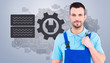 Repairman holding adjustable wrench against grey vignette