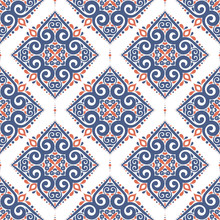 Blue And Orange Seamless Pattern With Flowers. Paisley Elements. Ornament. Traditional, Ethnic, Turkish, Indian Motifs. Great For Fabric And Textile, Wallpaper, Packaging Or Any Desired Idea