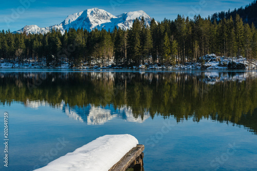 Keuken foto achterwand Meer / Vijver A small jetty on lake Hintersee. Bavaria. Germany