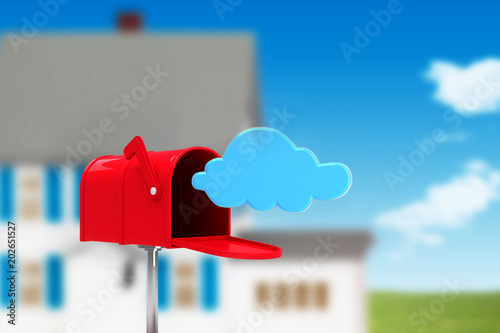 Fotografie, Obraz Red email postbox against house in the distance