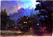 Bright Painted Evening Landscape With A Hut In The Forest