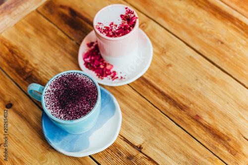 Two cups of latte. Flat, top view. Wallpaper Mural