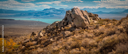Rocky boulders overlook Mono Lake in northern California. Canvas Print