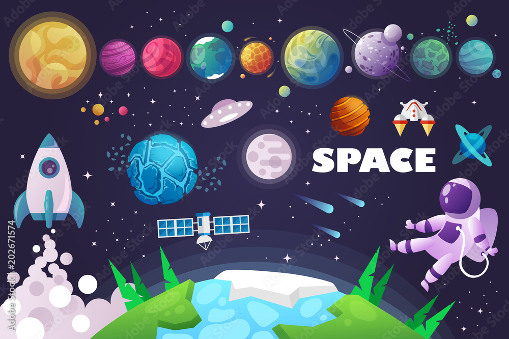 Fototapety, obrazy: universe. space. space trip. design. vector illustration
