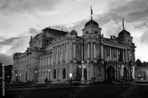 Deurstickers Theater Illuminated croatian National Theater in Zagreb, Croatia at night. Black and white