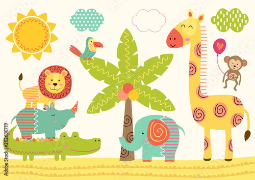 baby jungle animals near the palm tree - vector illustration, eps