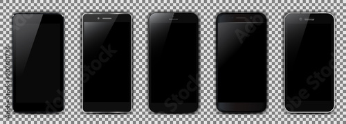 Foto  Set of five black smartphone - for stock