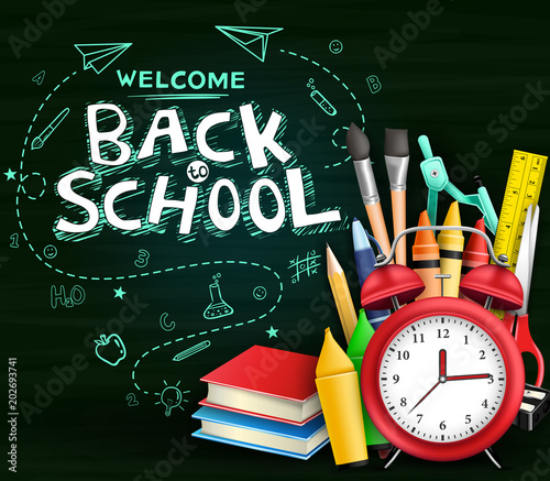 Welcome Back To School Text With Hand Drawn Doodle And Various Kind Of School Items In Green Chalkboard Background Vector Illustration Buy This Stock Vector And Explore Similar Vectors At Adobe