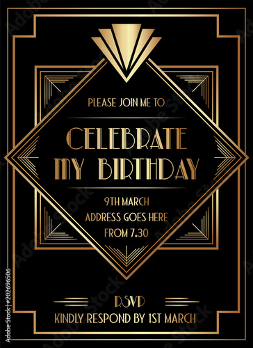Geometric Gatsby Art Deco Style Birthday Invitation Design
