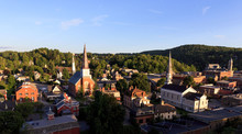 Looking Down On Churches And Historic Buildings In The Small Town Of Montpellier, Vermont