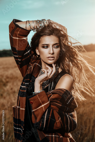 Fotobehang Gypsy sensual woman outdoor